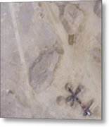 Aerial View Of Excavator And Truck Working On The Field Of Sand  Metal Print