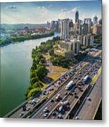 Aerial View Of The Austin Skyline As Rush Hour Traffic Picks Up On I-35 Metal Print