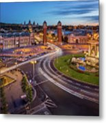 Aerial View On Placa Espanya And Montjuic Hill With National Art Metal Print