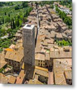 Aerial Wide-angle View Of The Historic Town Of San Gimignano Wit Metal Print