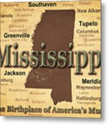Aged Mississippi State Pride Map Silhouette  Metal Print