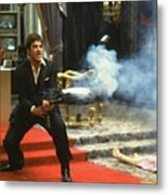 Al Pacino As Tony Montana With Machine Gun Blasting His Fellow Bad Guys Scarface 1983 Metal Print