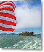 Alcatraz Island With American Flag Metal Print