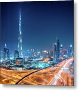 Amazing Night Dubai Downtown Skyline, Dubai, United Arab Emirates Metal Print