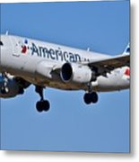American Airlines Plane Preparing To Land At The Bwi Airport Metal Print