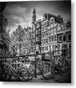 Amsterdam Flower Canal Black And White Metal Print