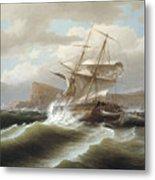 An American Ship In Distress Metal Print