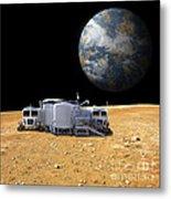 An Artists Depiction Of A Lunar Base Metal Print