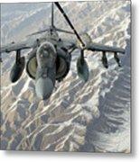 An Av-8b Harrier Receives Fuel Metal Print