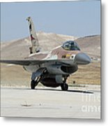 An Israeli Air Force F-16a Netz Taxiing Metal Print