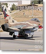 An Israeli Air Force F-16b Netz Taxiing Metal Print