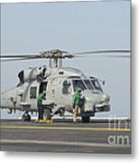 An Mh-60r Seahawk Embarked Aboard Uss Metal Print