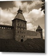 Ancient Walls. Sepia Metal Print