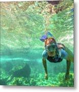 Apnea In Tropical Sea Metal Print