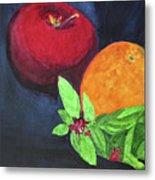 Apple, Orange And Red Basil Metal Print
