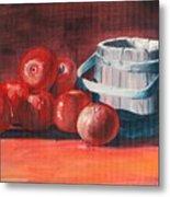Apples - N - Wodden Basket Metal Print