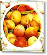 Apples In Wooden Baskets, Still Life Metal Print