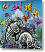 Armadillos Bluebonnets And Butterflies Metal Print