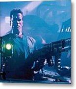 Arnold Schwarzenegger Firing Dual Em-1 Railguns Eraser 1996 Metal Print