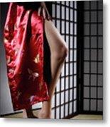 Asian Woman In Red Kimono Metal Print