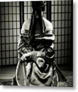 Asian Woman With Her Hands Tied Behind Her Back Metal Print