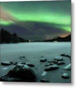 Aurora Borealis Over Sandvannet Lake Metal Print