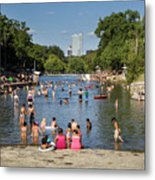 Austinites Love To Lounge In The Refreshing Waters Of Barton Springs Pool To Beat The Sizzling Texas Summer Heat Metal Print