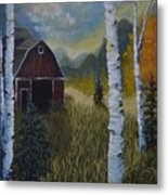 Autumn Red Barn  Metal Print