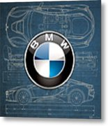 B M W 3 D Badge Over B M W I8 Blueprint  Metal Print