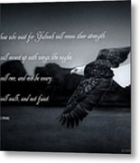 Bald Eagle In Flight With Bible Verse Metal Print