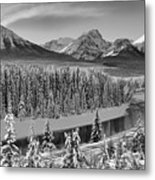 Banff Bow River Black And White Metal Print