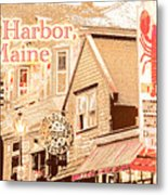Bar Harbor Maine Shops At Night Metal Print
