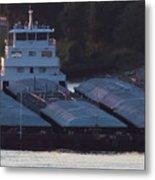 Barge On Mississippi River Metal Print