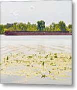 Barge On The Dnieper River Metal Print