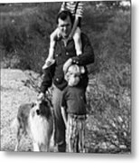 Barry Sadler With Sons And Family Collie Tucson Arizona 1971 Metal Print