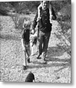 Barry Sadler With Sons Baron And Thor Taking A Stroll 1 Tucson Arizona 1971 Metal Print