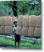 Basket Carrier In Bali Metal Print