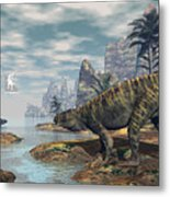 Batrachotomus Dinosaurs -3d Render Metal Print