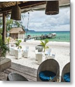Beach Bar In Sok San Area Of Koh Rong Island Cambodia Metal Print