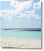 Beach On An Island In The Maldives With Turquoise Water Metal Print
