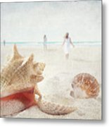 Beach Scene With People Walking And Seashells Metal Print