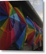 Beach Umbrella Row Metal Print
