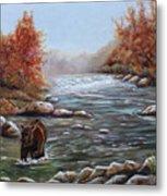 Bear In Fall Metal Print