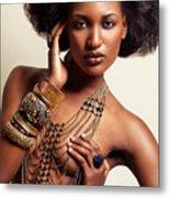 Beautiful African American Woman Wearing Jewelry Metal Print