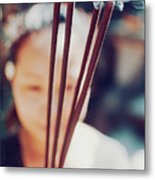 Beautiful Asian Woman Holding Incense Sticks During Hindu Ceremony In Bali, Indonesia Metal Print