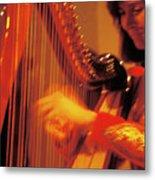 Beautiful Harp Player Metal Print