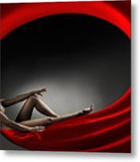 Beautiful Woman In A Whirl Of Power Metal Print
