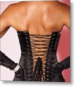 Beautiful Woman In Black Corset Metal Print