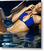 Beautiful Young Woman In Blue Bikini Metal Print