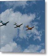 Beechcraft T-34 Mentor Airplane Trio 3 Metal Print